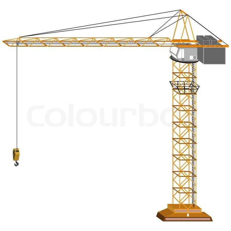 Crane Wheel Clip Art : Tri dimensional crane drawing isolated on white