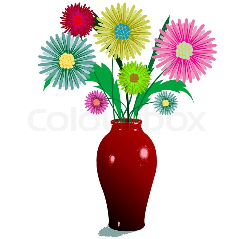 Flowers And Vase Composition Isolated On White Abstract Vector Art