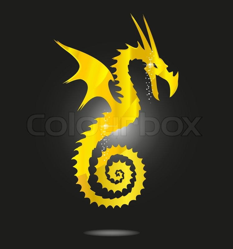 Copyright Symbol In Golden Color: Glass And Magic Gold Asia Dragon Symbol Isolated
