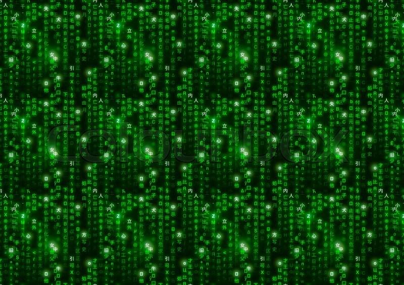 Green Matrix Symbols Digital Binary Code On Dark Background A4 Size