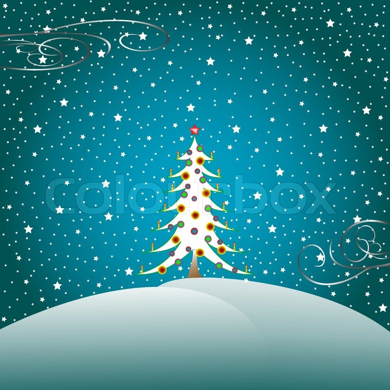 Sterne, Schnee und Weihnachtsbaum, Vektor-Illustration ...