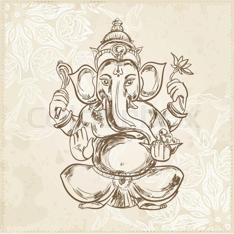 Hand Drawn Vector Illustration Of Sitting Lord Ganesha In Mandala Frame For Tattoo Yoga Spirituality