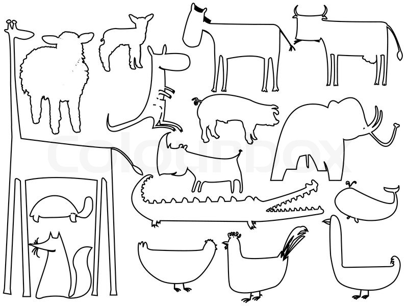 Animals Black Outlines Over White