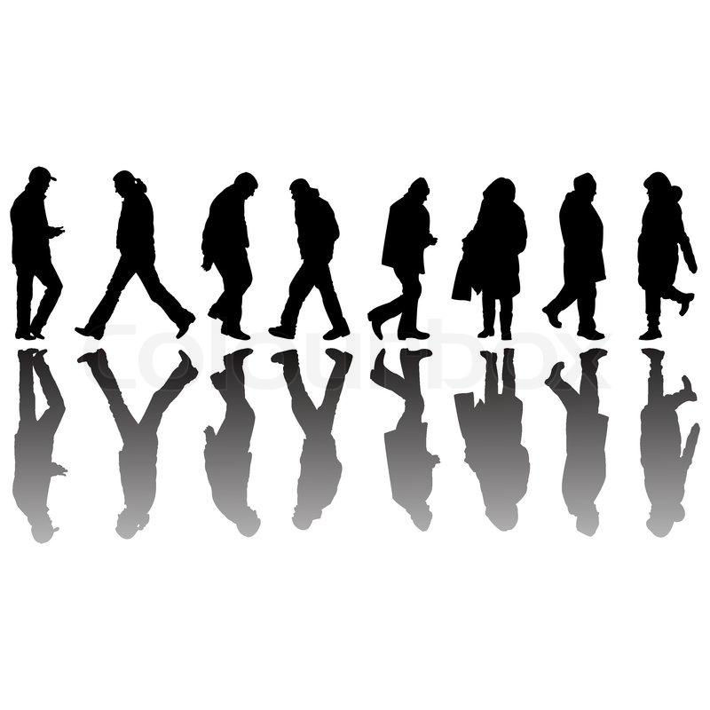 Menschen schwarz Silhouetten, abstrakte Vektor-Kunst-illustration ...