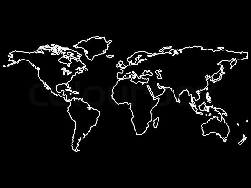 hvid verdenskortet skitserer isoleret p sort baggrund abstrakt vektor kunst illustration. Black Bedroom Furniture Sets. Home Design Ideas