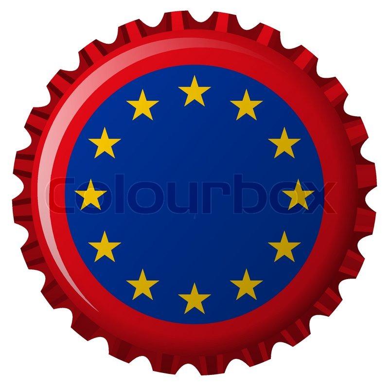 european union flag on bottle cap isolated on white background rh colourbox com beer bottle cap vector free beer bottle cap vector free