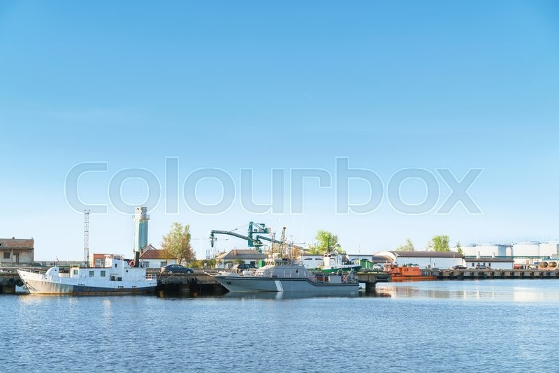 Stock image of 'Boats at Marina  in Ventspils. Ventspils a city in the Courland region of Latvia. Latvia is one of the Baltic countries'