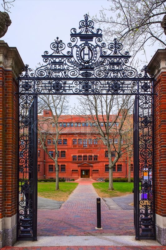 Entrance Gate And East Facade Of Sever Hall In Harvard