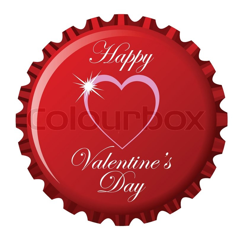 happy valentine s day theme on bottle cap against white background rh colourbox com vintage bottle cap vector vintage bottle cap vector