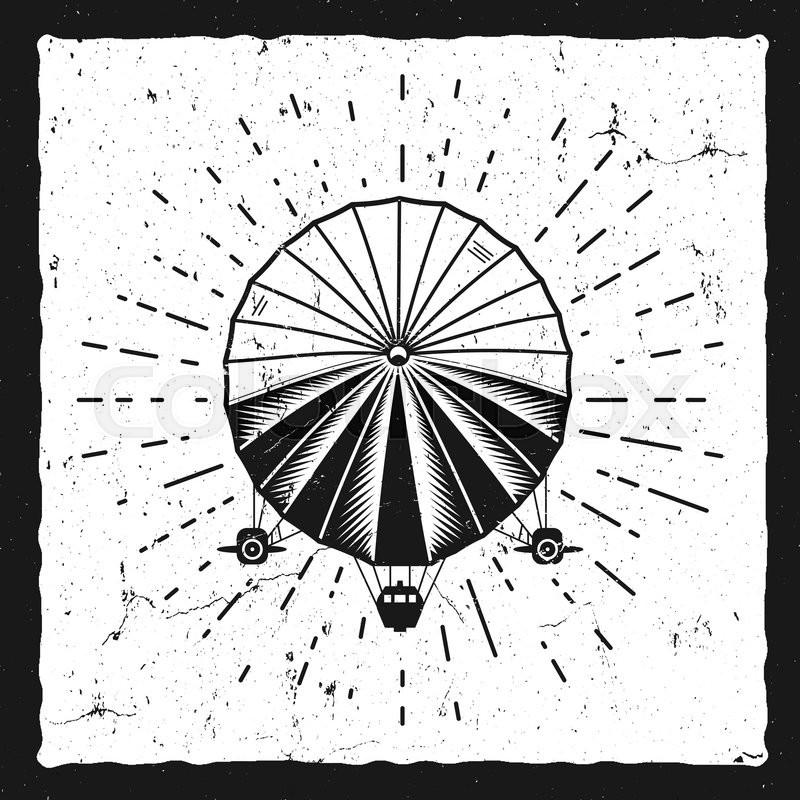 vintage airship background retro dirigible balloon grunge poster