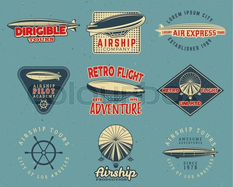 Stock Vector Of Vintage Airship Logo Designs Set Retro Dirigible Badges Collection Airplane