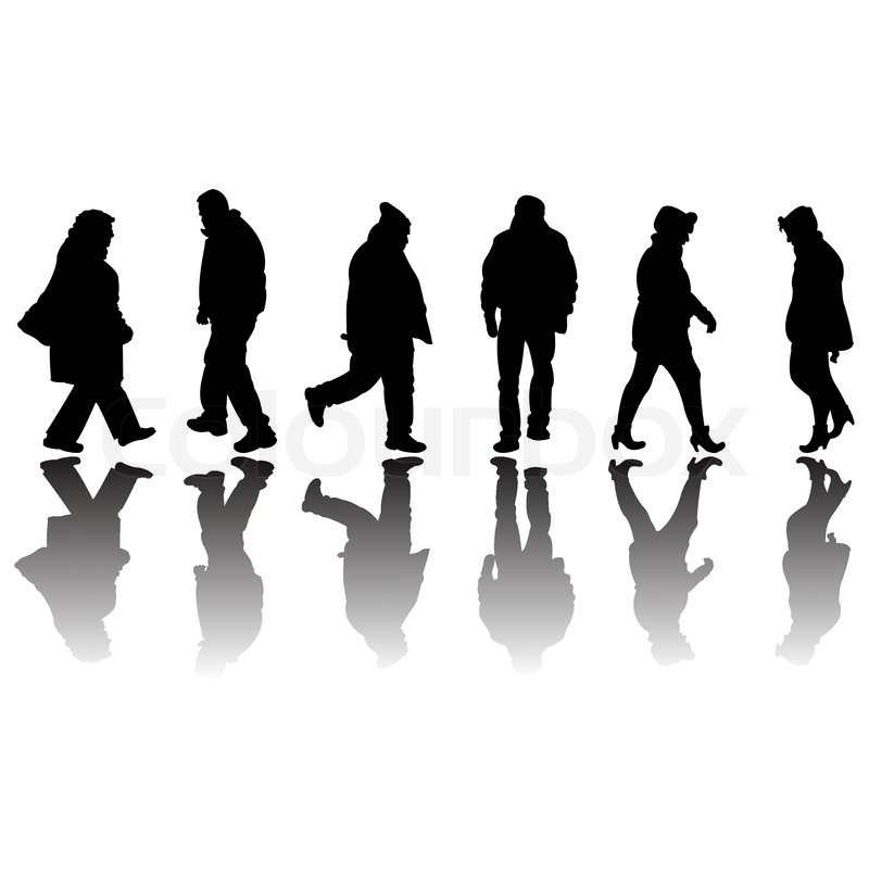 People Black Silhouettes Isolated On White Background