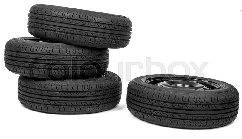 Stock image of 'Automobile wheels with discs isolated on white background'
