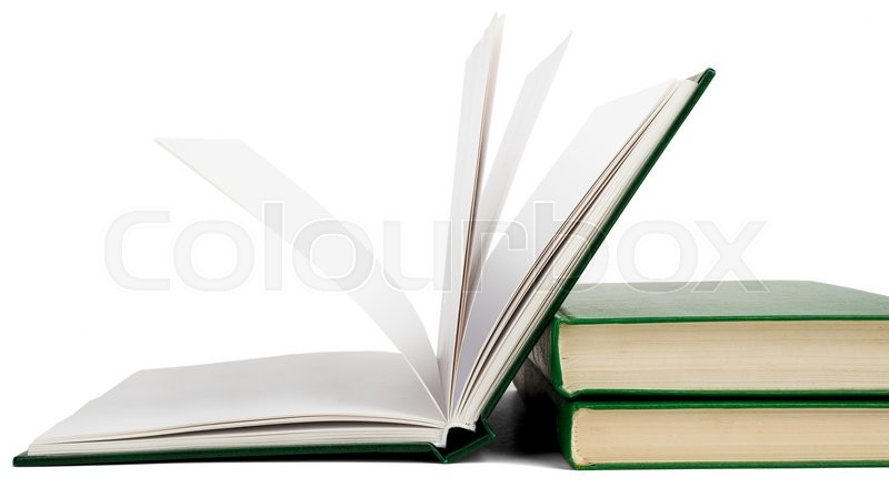 Stock image of 'Open book, hardback books isolated on white background'