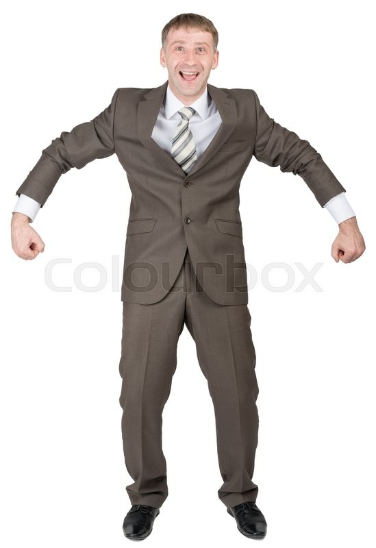 Stock image of 'Happy businessman in suit ready to work isolated on white background'