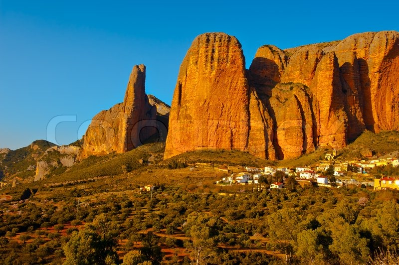 Rocks In Spanish Part - 28: Spanish Medieval Village At The Foot Of The Rocks In The Pyrenees | Stock  Photo | Colourbox