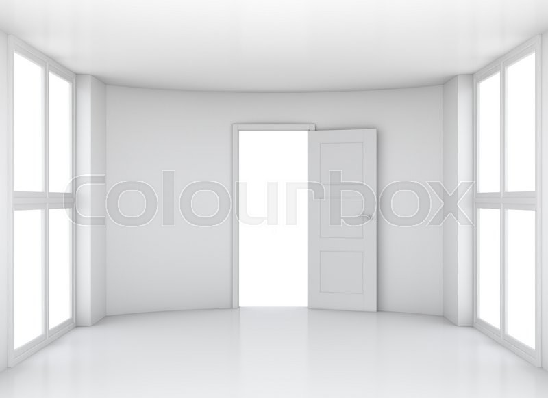 Stock image of 'Empty white clean room with opened door and large windows. 3D rendering'