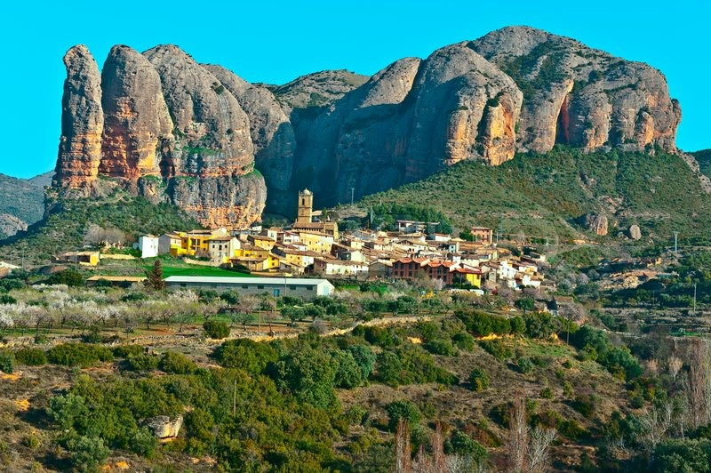 Rocks In Spanish Part - 17: Spanish Medieval Village At The Foot Of The Rocks In The Pyrenees | Stock  Photo | Colourbox