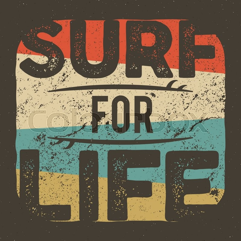 Vintage T Shirt Apparel Graphic Design For Surfing Company