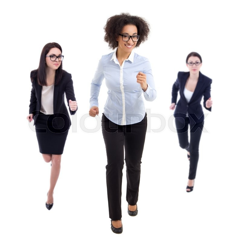 Stock image of 'deadline concept - front view of running business women isolated on white background'