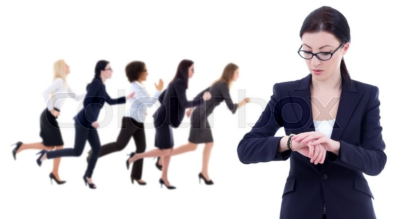 Stock image of 'deadline concept - young business woman checks time on wrist watch and her running colleagues isolated on white background'
