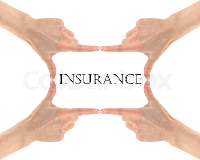 Stock image of 'Insurance concept. The word insurance is in the hands of man'