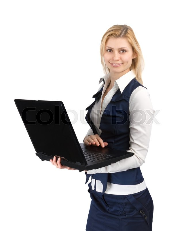 Stock image of 'Girl in a suit with a laptop in hand on white background'