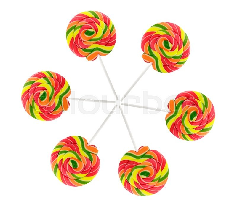 Stock image of 'Many bright round lollipops. Isolated on white background'