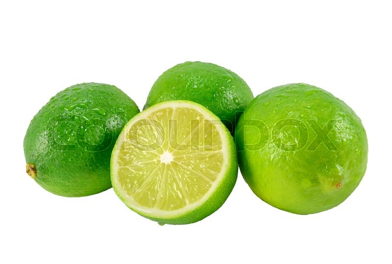 Stock image of 'Ripe lime green with cutting half. design element'