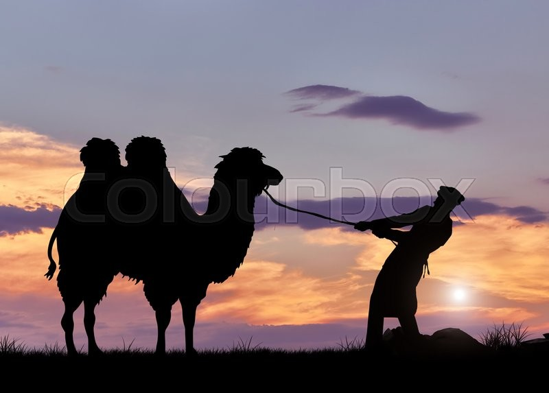 Stock image of 'Bedouin and camel silhouette at sunset. The concept of tourism and Journey'