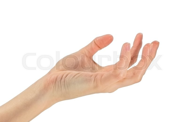 Stock image of 'Gesture hands. Asking open hand, palm up. Isolated on white'