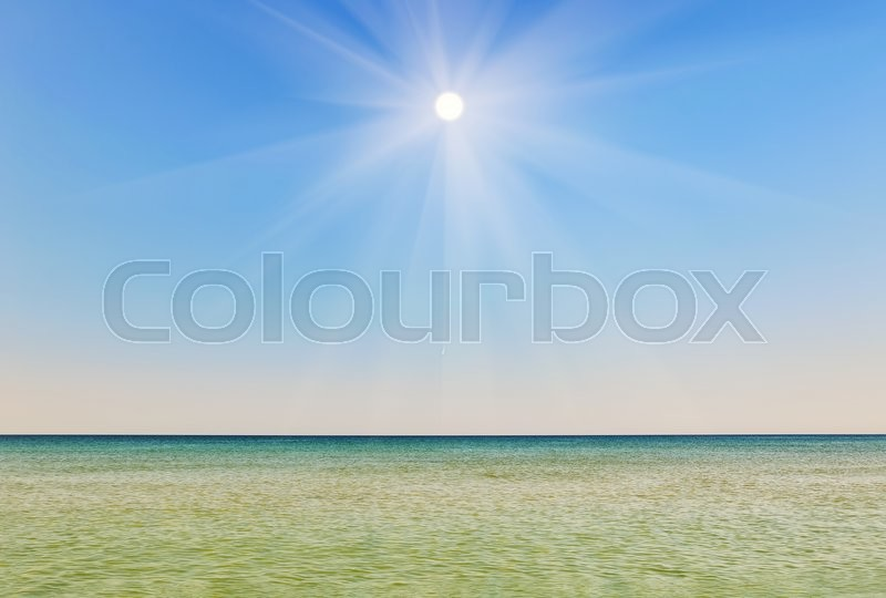 Stock image of 'Beautiful sunny sky against the backdrop of the sea. design element'