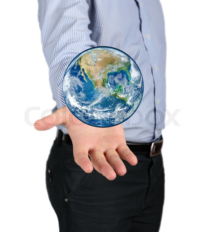 Stock image of 'Concept of tourism and travel. Planet earth in the hand of man NASA'