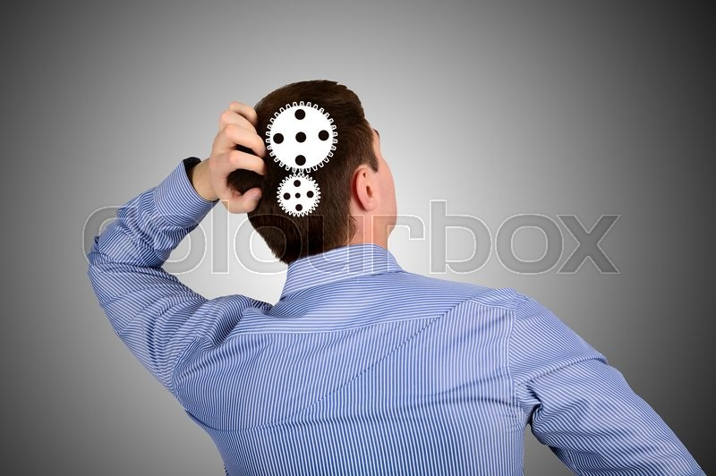 Stock image of 'Mechanism in the head of the business men. The concept of thinking and ideas'