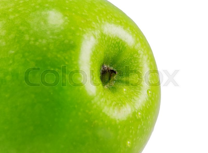 Stock image of 'Green ripe apple close-up isolated on white background'