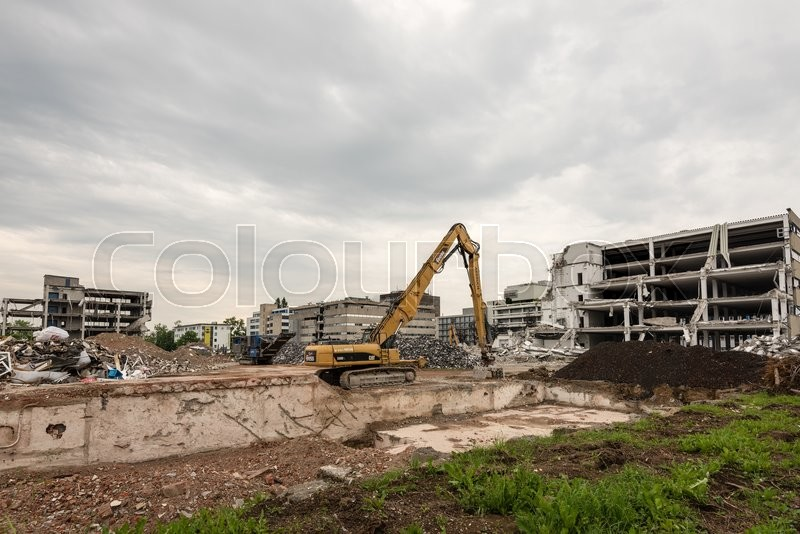 stuttgart germany may 29 2016 demolition work on the former buildings of the knv group in. Black Bedroom Furniture Sets. Home Design Ideas