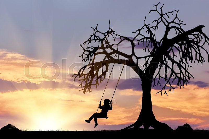Stock image of 'Silhouette of the girl on the swing near a tree at sunset'
