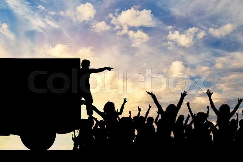 Stock image of 'Concept of the refugees. Silhouette of humanitarian assistance to the refugees against the evening sky'