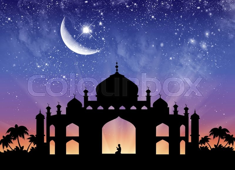 Stock image of 'Сoncept of the Islamic religion. Silhouette of the town hall and praying men on the background of the starry sky and the moon'