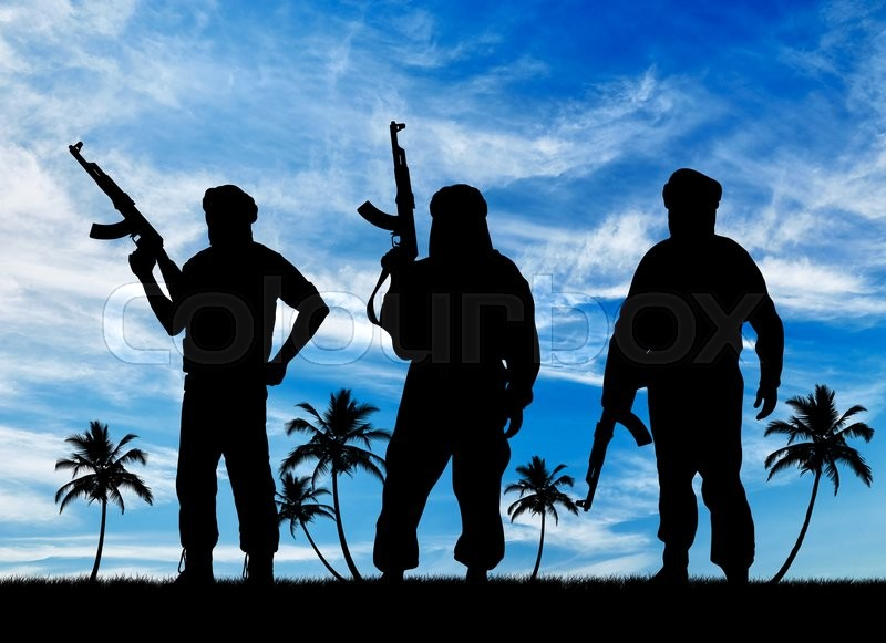 Stock image of 'Silhouette of three terrorists with a weapon against a background of blue sky and palm trees'