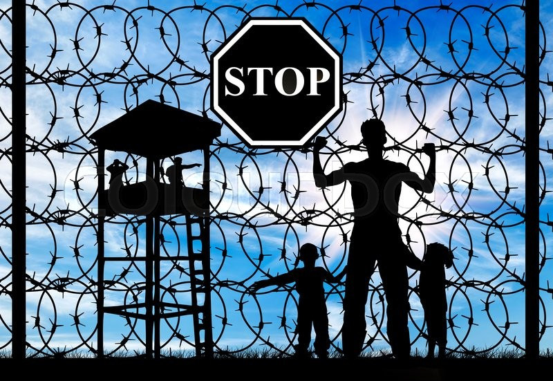Stock image of 'Concept of refugee. Silhouette of father and child refugees and fence with barbed wire and watch tower'