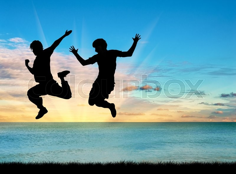Stock image of 'Concept of gay people. Silhouette of two happy gays jump on the background of sea sunset'
