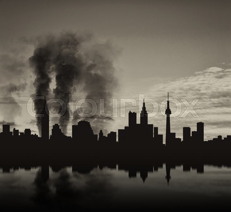 Stock image of 'Silhouette of the city in a smoke and reflection'