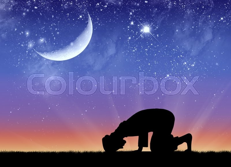 Stock image of 'Concept of Islamic culture. Silhouette of man praying at sunset'