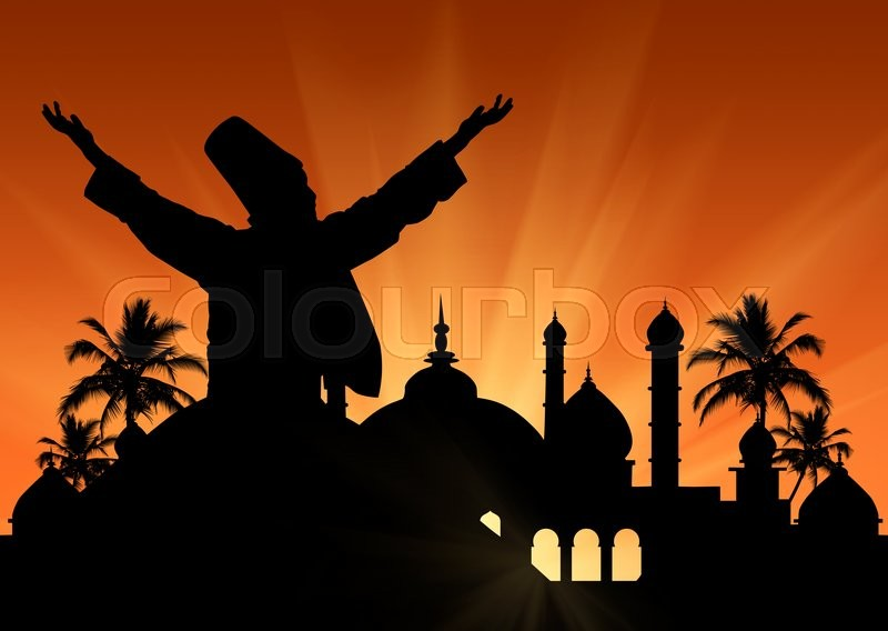 Stock image of 'Silhouette of the Turkish national dance Dancing Dervishes on the background of the town hall at sunset'