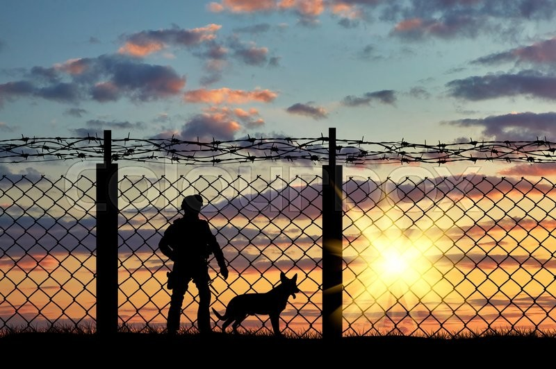 Stock image of 'Silhouette of a soldier on the border with a fence and a dog at sunset'