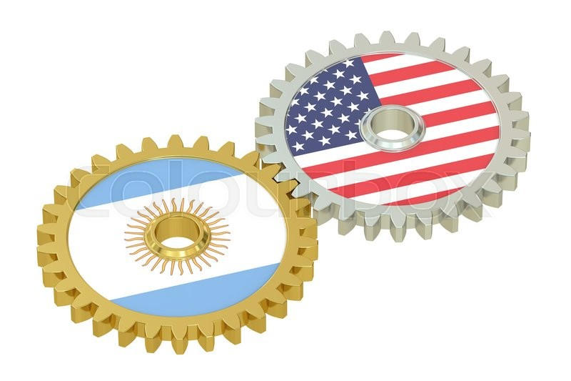 Stock image of 'Argentina and United States relations concept, flags on a gears. 3D rendering isolated on white background'