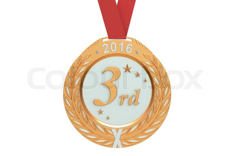 Stock image of 'Bronze medal 2016, 3D rendering isolated on white background'