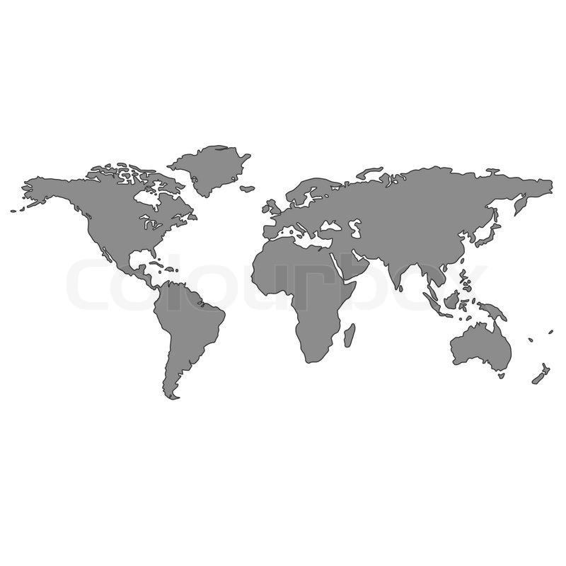 Gray World Map Over White Background Abstract Vector Art