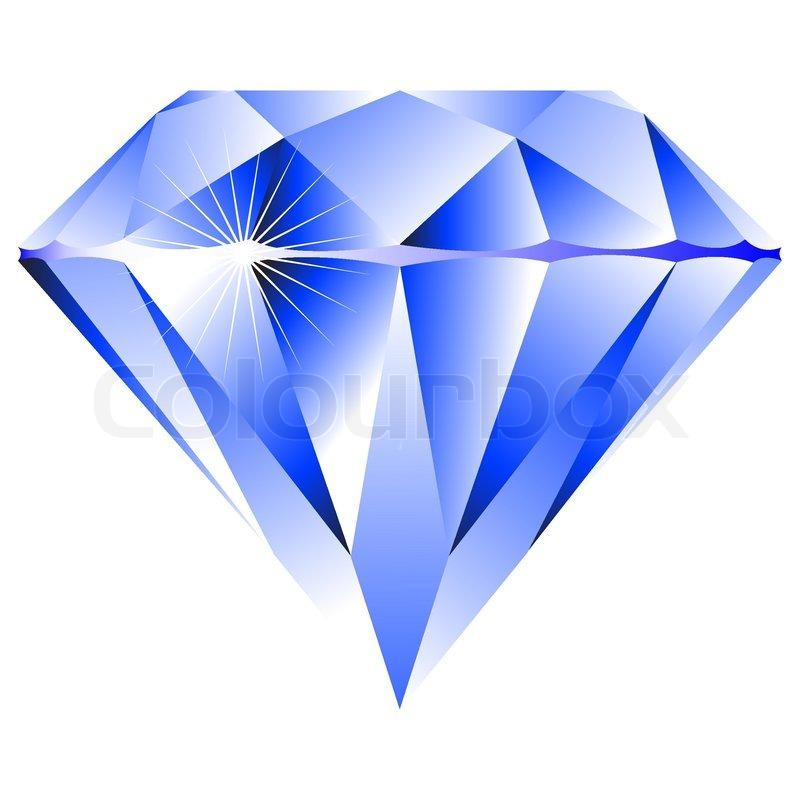 Blue diamond isolated on white background, abstract vector ...